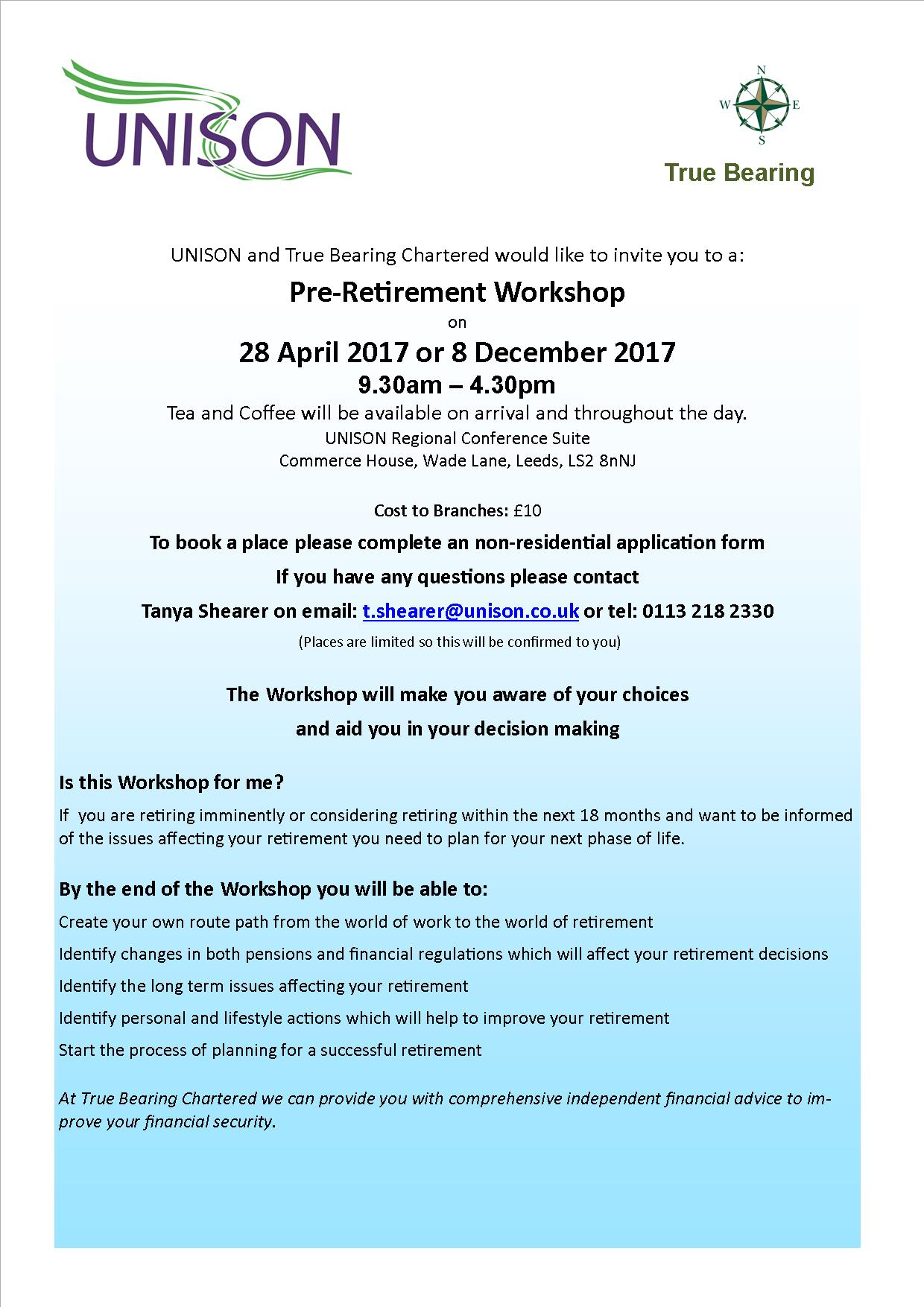 pre-retirement workshop
